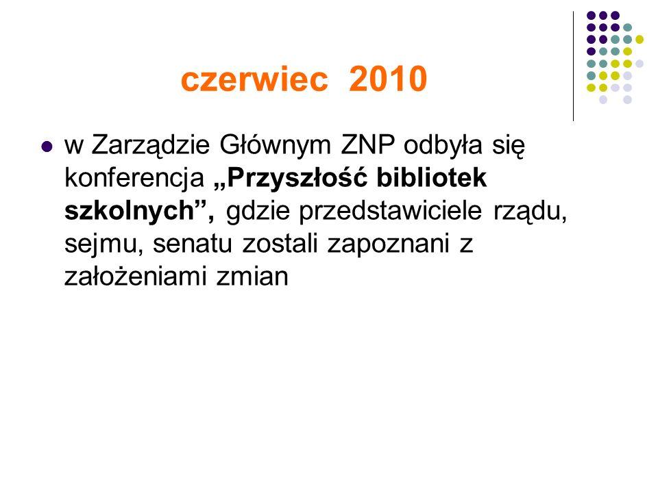 czerwiec 2010 w Zarządzie Głównym ZNP odbyła się konferencja Przyszłość bibliotek szkolnych, gdzie przedstawiciele rządu, sejmu, senatu zostali zapoznani z założeniami zmian