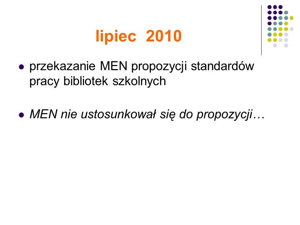 lipiec 2010 przekazanie MEN propozycji standardów pracy bibliotek szkolnych MEN nie ustosunkował się do propozycji…