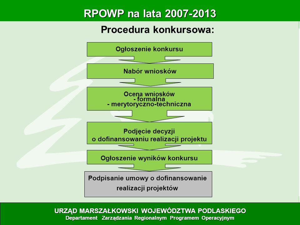Procedura konkursowa: RPOWP na lata 2007-2013 RPOWP na lata 2007-2013 URZĄD MARSZAŁKOWSKI WOJEWÓDZTWA PODLASKIEGO Departament Zarządzania Regionalnym
