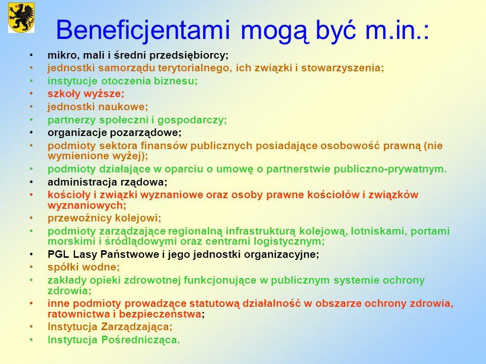 Beneficjentami mogą być m.in.: mikro, mali i średni przedsiębiorcy; jednostki samorządu terytorialnego, ich związki i stowarzyszenia; instytucje otocz