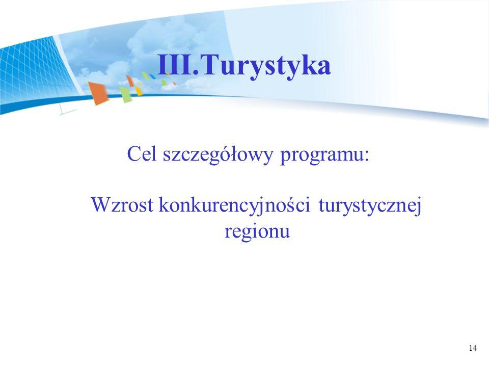 14 III.Turystyka Cel szczegółowy programu: Wzrost konkurencyjności turystycznej regionu
