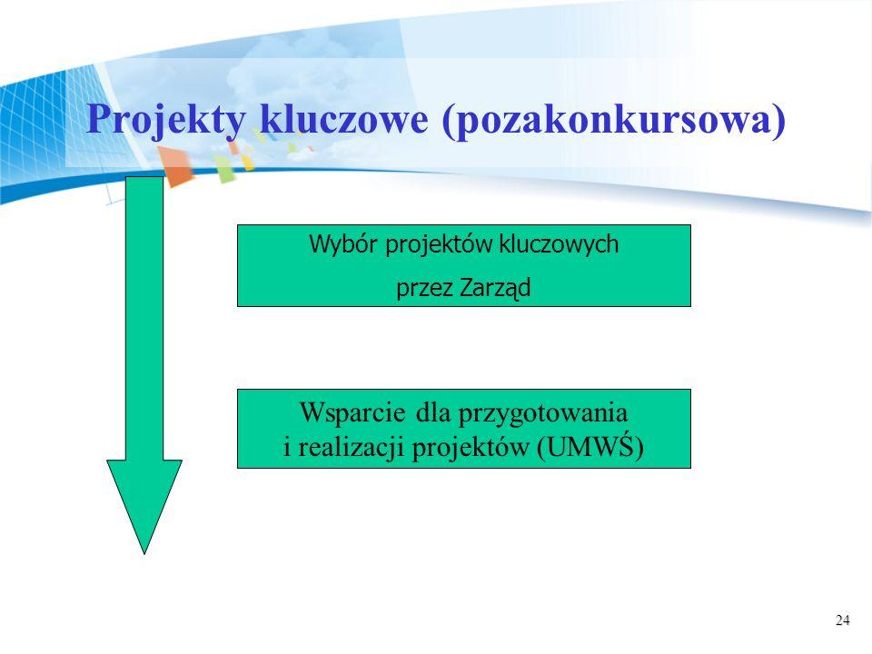 24 Projekty kluczowe (pozakonkursowa) Wybór projektów kluczowych przez Zarząd Wsparcie dla przygotowania i realizacji projektów (UMWŚ)