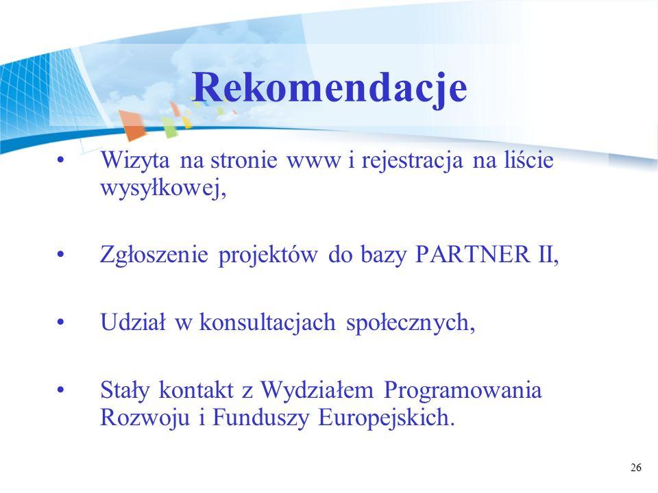 26 Rekomendacje Wizyta na stronie www i rejestracja na liście wysyłkowej, Zgłoszenie projektów do bazy PARTNER II, Udział w konsultacjach społecznych, Stały kontakt z Wydziałem Programowania Rozwoju i Funduszy Europejskich.