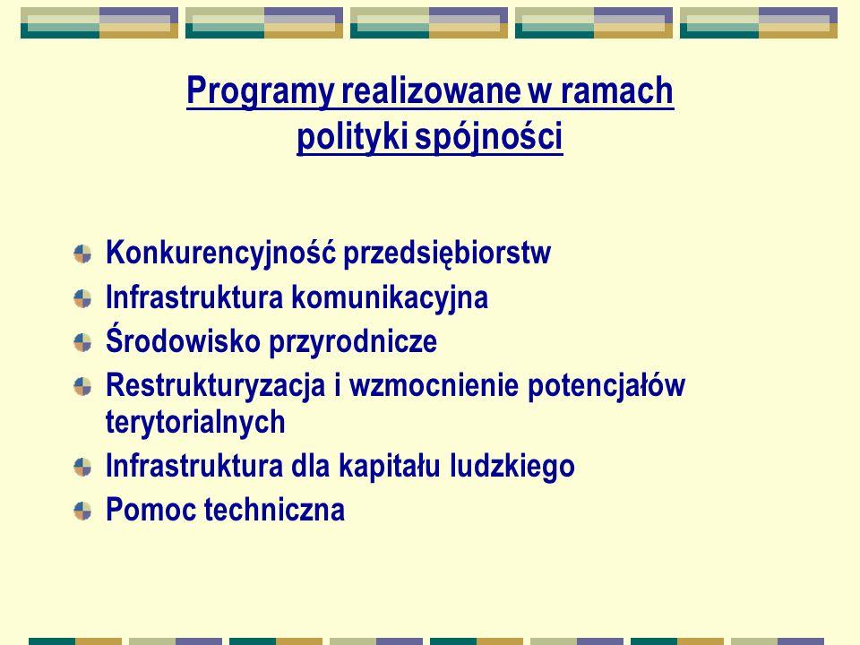 Programy realizowane w ramach polityki spójności Konkurencyjność przedsiębiorstw Infrastruktura komunikacyjna Środowisko przyrodnicze Restrukturyzacja i wzmocnienie potencjałów terytorialnych Infrastruktura dla kapitału ludzkiego Pomoc techniczna