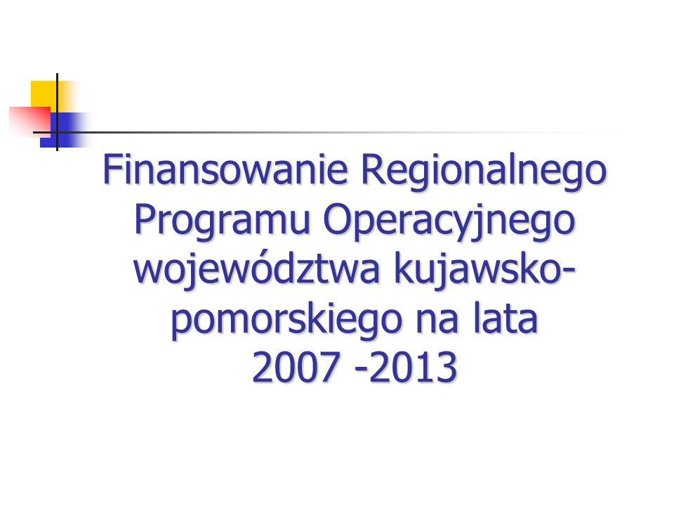 Finansowanie Regionalnego Programu Operacyjnego województwa kujawsko- pomorskiego na lata 2007 -2013