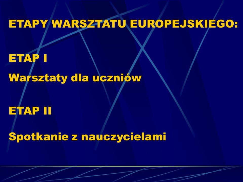 ETAPY WARSZTATU EUROPEJSKIEGO: ETAP I Warsztaty dla uczniów ETAP II Spotkanie z nauczycielami
