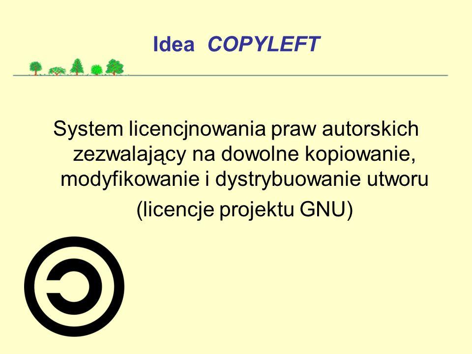Idea COPYLEFT System licencjnowania praw autorskich zezwalający na dowolne kopiowanie, modyfikowanie i dystrybuowanie utworu (licencje projektu GNU)