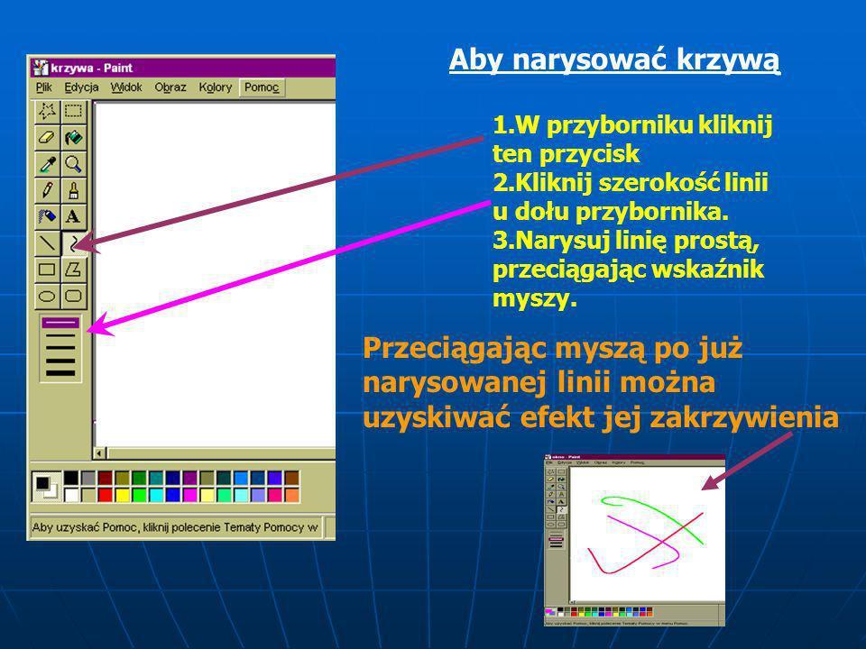 Przycisk narzędzia KRZYWA Styl linii Narzędzie Krzywa pozwala nam rysować pofalowane linie