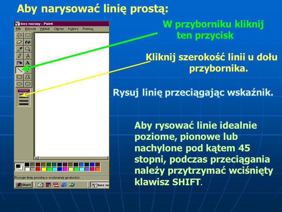 Tutaj wybieramy grubość linii, którą chcemy się posłużyć Podczas rysowania linii posługujemy się tym przyciskiem: