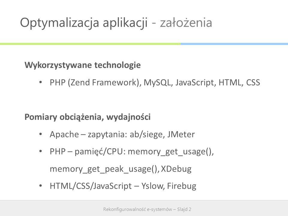 Optymalizacja aplikacji Rekonfigurowalność e-systemów – Slajd 3 Optymalizacja aplikacji PHP – Opcode cache: APC/Xcache, Zend Optimizer MySQL - Zend Cache, indeksy, unikanie złączeń, odpowiednie typy kolumn HTML/CSS – CSS Sprites, kompresja styli, obrazków JavaScript – kompresja, łączenie skryptów, usuwanie duplikatów