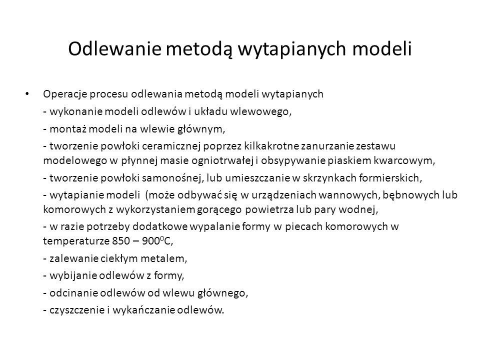 Odlewanie metodą wytapianych modeli Operacje procesu odlewania metodą modeli wytapianych - wykonanie modeli odlewów i układu wlewowego, - montaż model