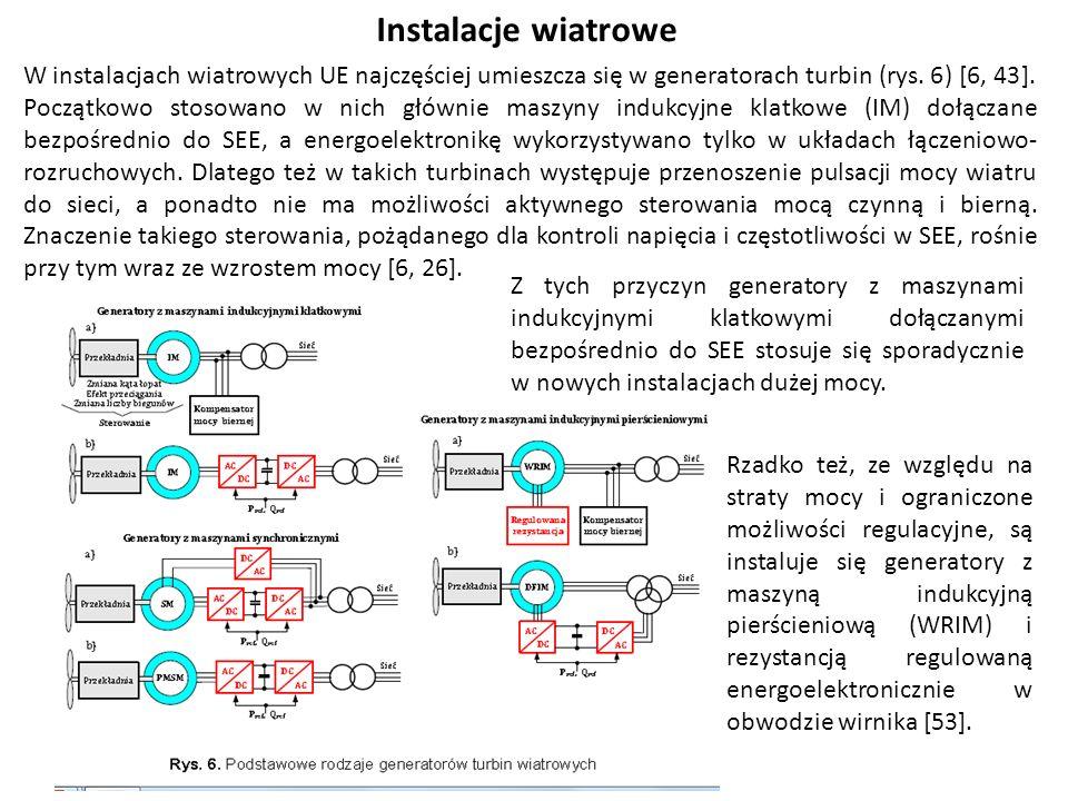Instalacje wiatrowe W instalacjach wiatrowych UE najczęściej umieszcza się w generatorach turbin (rys.