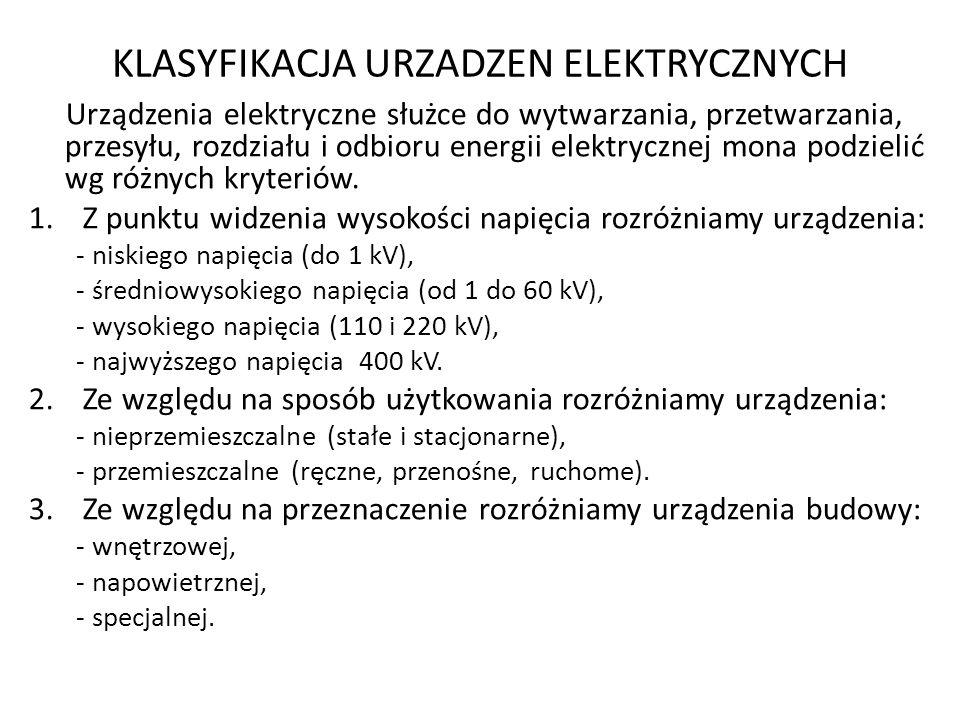 KLASYFIKACJA URZADZEN ELEKTRYCZNYCH Urządzenia elektryczne służce do wytwarzania, przetwarzania, przesyłu, rozdziału i odbioru energii elektrycznej mo