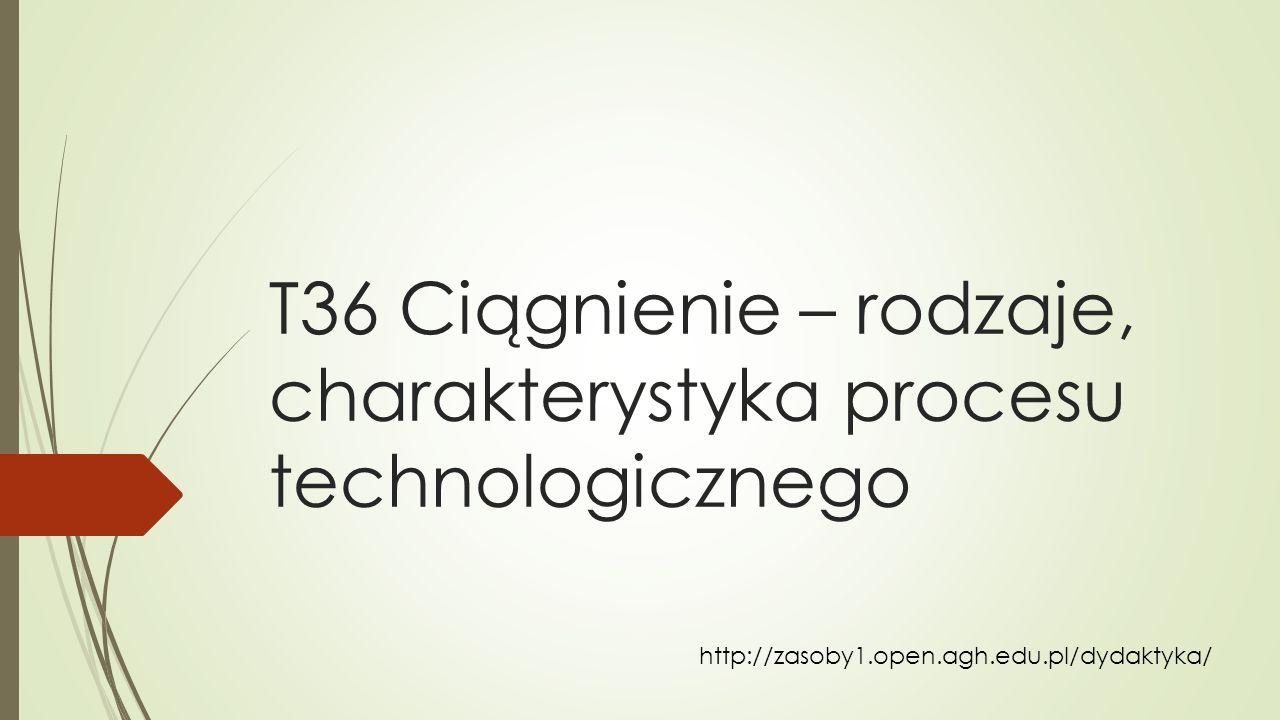 T36 Ciągnienie – rodzaje, charakterystyka procesu technologicznego http://zasoby1.open.agh.edu.pl/dydaktyka/