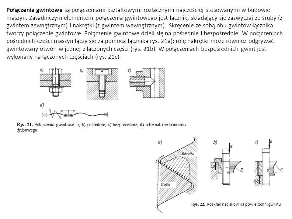 Połączenia gwintowe są połączeniami kształtowymi rozłącznymi najczęściej stosowanymi w budowie maszyn. Zasadniczym elementem połączenia gwintowego jes