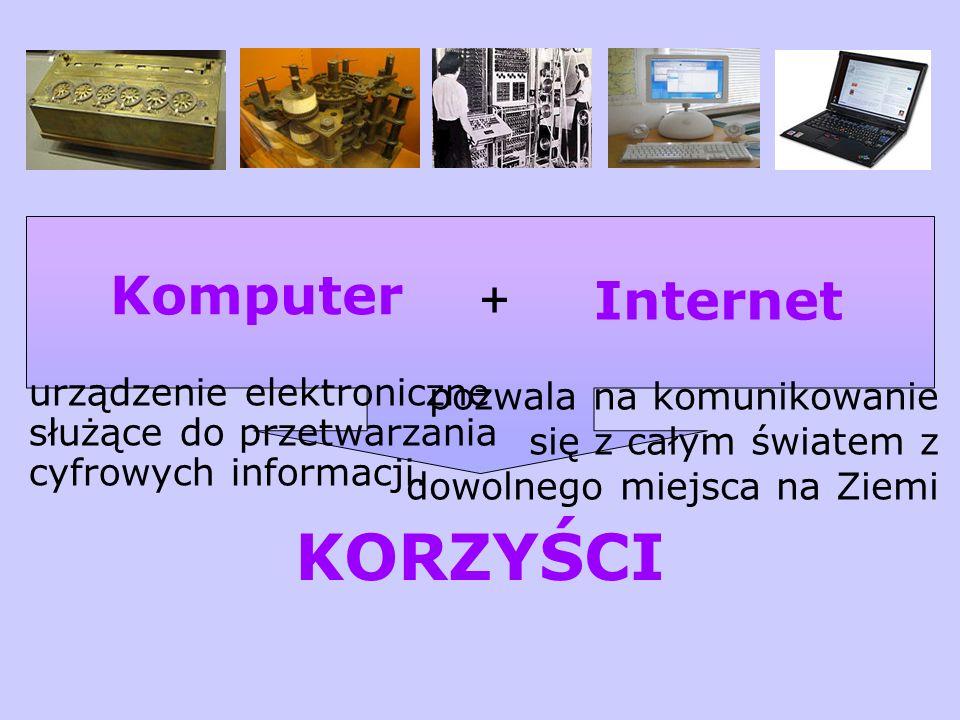 Komputer Internet urządzenie elektroniczne służące do przetwarzania cyfrowych informacji. pozwala na komunikowanie się z całym światem z dowolnego mie