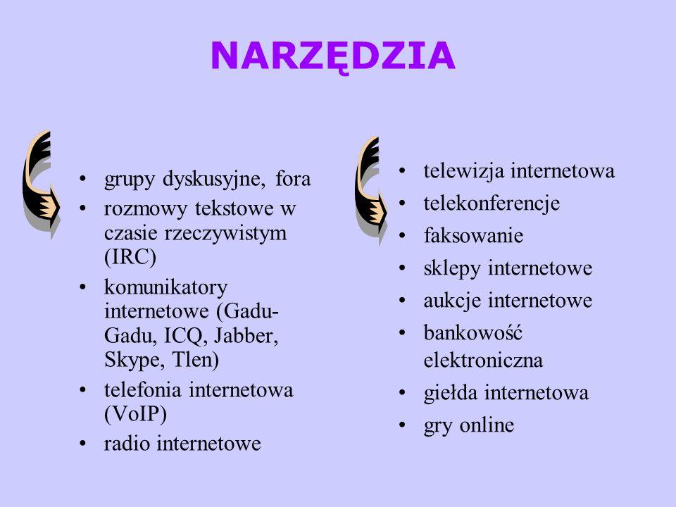 NARZĘDZIA grupy dyskusyjne, fora rozmowy tekstowe w czasie rzeczywistym (IRC) komunikatory internetowe (Gadu- Gadu, ICQ, Jabber, Skype, Tlen) telefoni