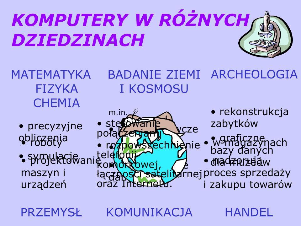 KOMPUTERY W RÓŻNYCH DZIEDZINACH MATEMATYKA FIZYKA CHEMIA BADANIE ZIEMI I KOSMOSU ARCHEOLOGIA rekonstrukcja zabytków graficzne bazy danych dla muzeów p
