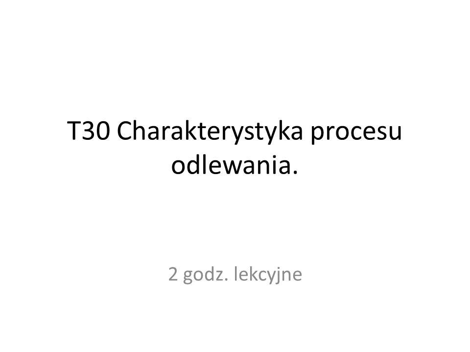 T30 Charakterystyka procesu odlewania. 2 godz. lekcyjne