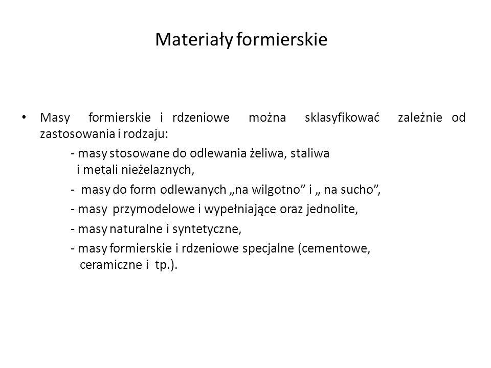 Materiały formierskie Masy formierskie i rdzeniowe można sklasyfikować zależnie od zastosowania i rodzaju: - masy stosowane do odlewania żeliwa, stali