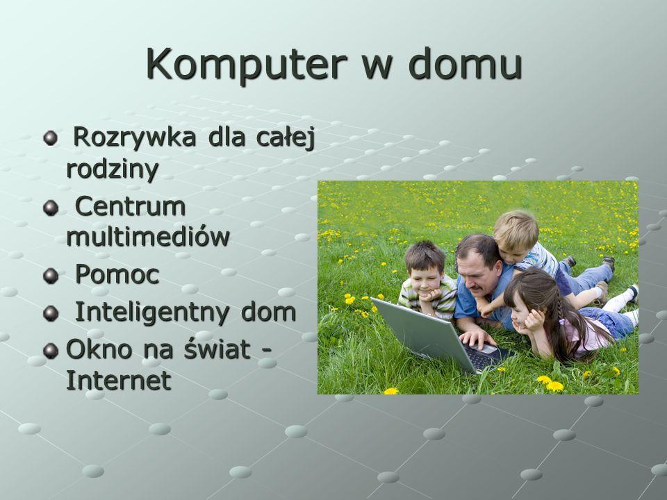 Komputer w domu Rozrywka dla całej rodziny Rozrywka dla całej rodziny Centrum multimediów Centrum multimediów Pomoc Pomoc Inteligentny dom Inteligentn