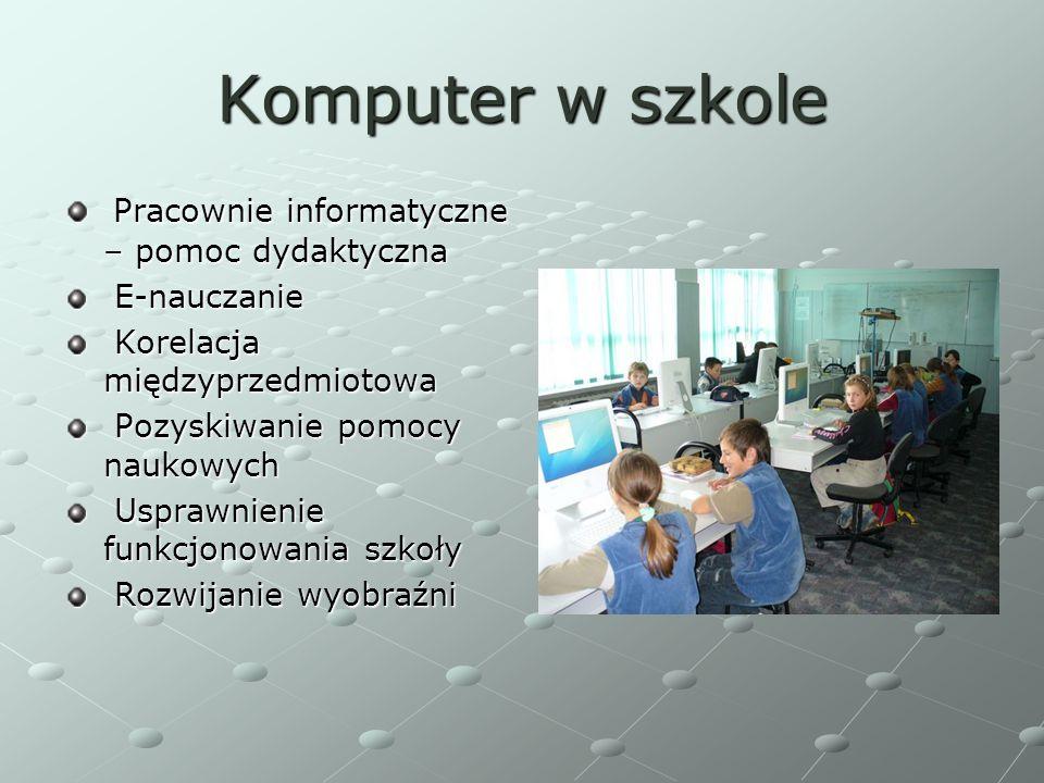 Komputer w szkole Pracownie informatyczne – pomoc dydaktyczna Pracownie informatyczne – pomoc dydaktyczna E-nauczanie E-nauczanie Korelacja międzyprze