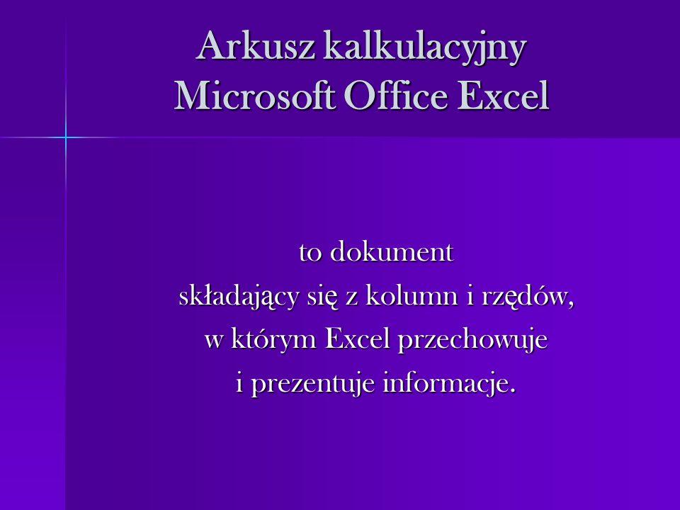 Arkusz kalkulacyjny Microsoft Office Excel to dokument sk ł adaj ą cy si ę z kolumn i rz ę dów, w którym Excel przechowuje i prezentuje informacje.
