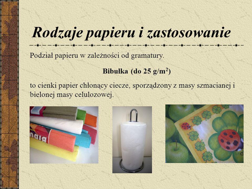 Rodzaje papieru i zastosowanie Podział papieru w zależności od gramatury.