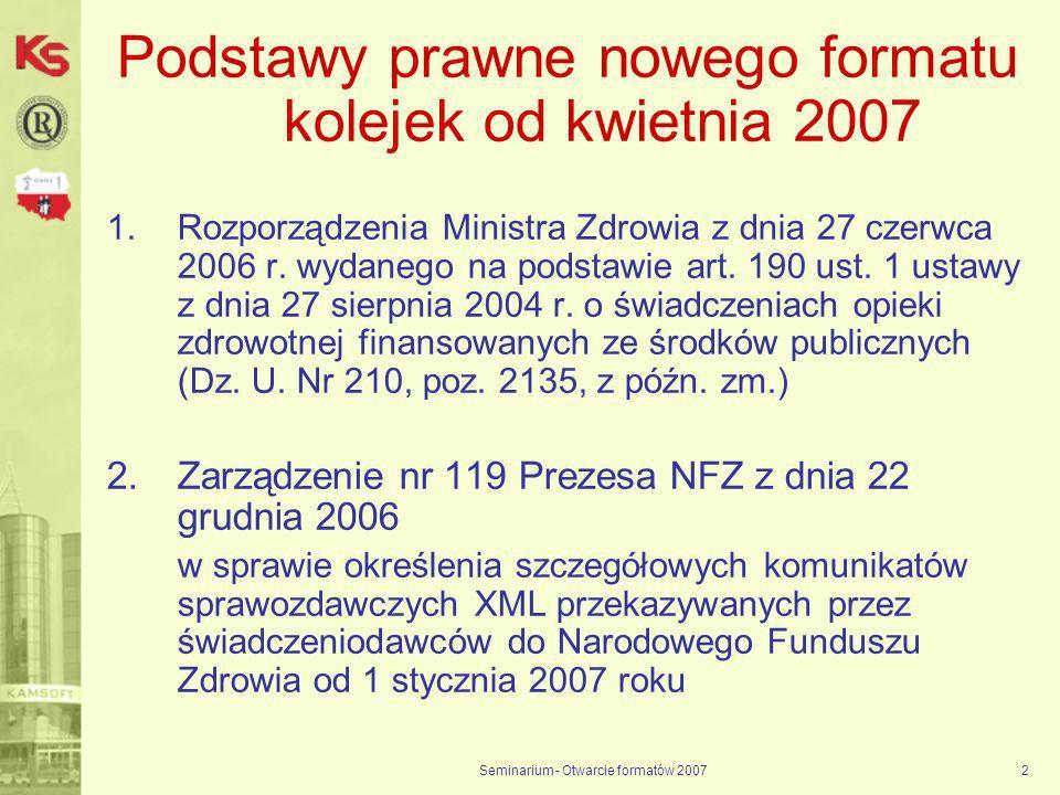 Seminarium - Otwarcie formatów 20072 Podstawy prawne nowego formatu kolejek od kwietnia 2007 1.Rozporządzenia Ministra Zdrowia z dnia 27 czerwca 2006 r.
