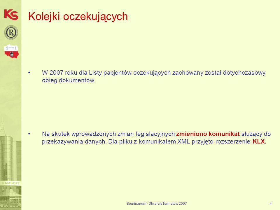 Seminarium - Otwarcie formatów 20074 Kolejki oczekujących W 2007 roku dla Listy pacjentów oczekujących zachowany został dotychczasowy obieg dokumentów.