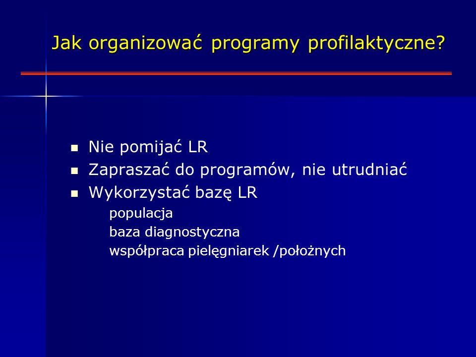 Nie pomijać LR Zapraszać do programów, nie utrudniać Wykorzystać bazę LR populacja baza diagnostyczna współpraca pielęgniarek /położnych Jak organizować programy profilaktyczne.