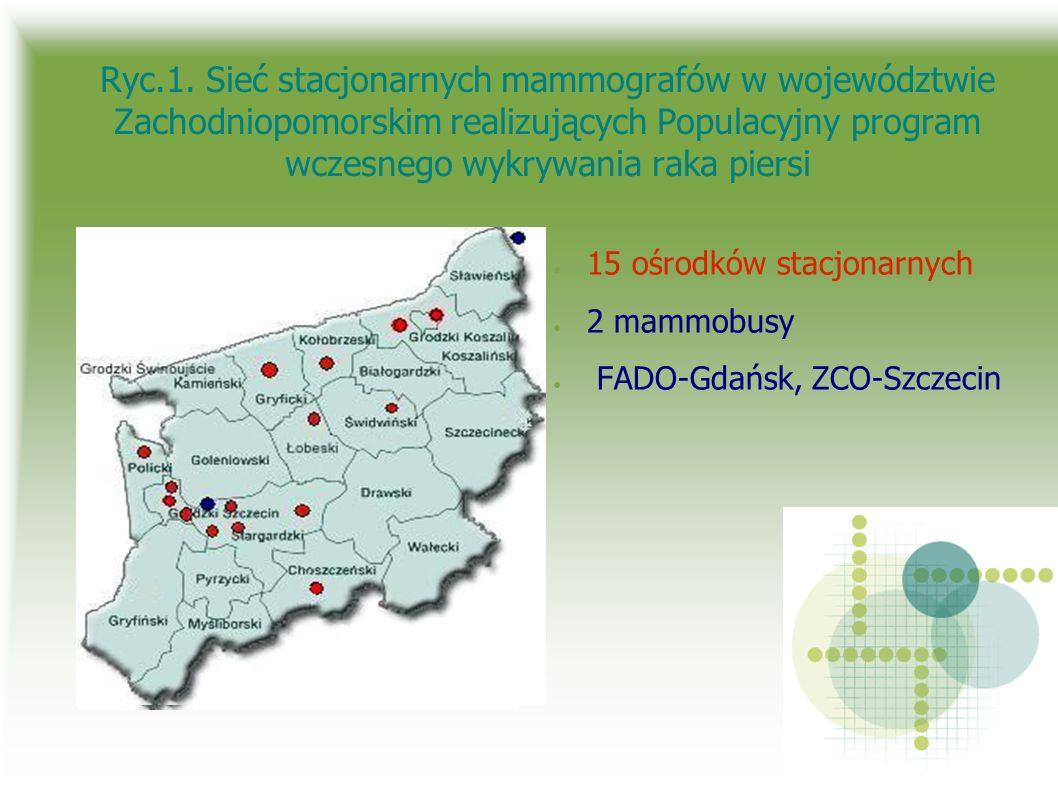 Ryc.1. Sieć stacjonarnych mammografów w województwie Zachodniopomorskim realizujących Populacyjny program wczesnego wykrywania raka piersi 15 ośrodków