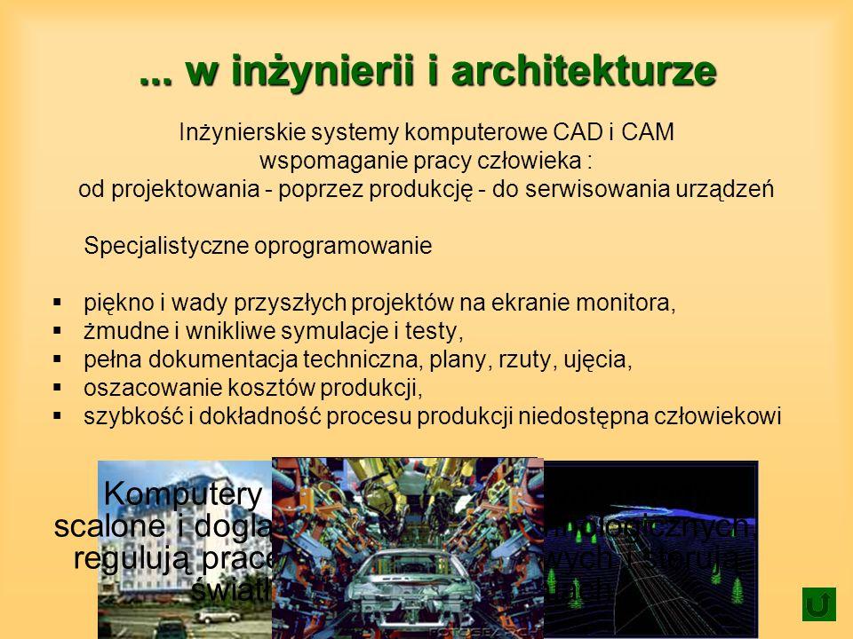 ... w inżynierii i architekturze Inżynierskie systemy komputerowe CAD i CAM wspomaganie pracy człowieka : od projektowania - poprzez produkcję - do se