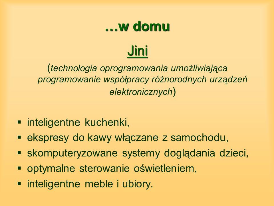 …w domu Jini ( technologia oprogramowania umożliwiająca programowanie współpracy różnorodnych urządzeń elektronicznych ) inteligentne kuchenki, ekspresy do kawy włączane z samochodu, skomputeryzowane systemy doglądania dzieci, optymalne sterowanie oświetleniem, inteligentne meble i ubiory.