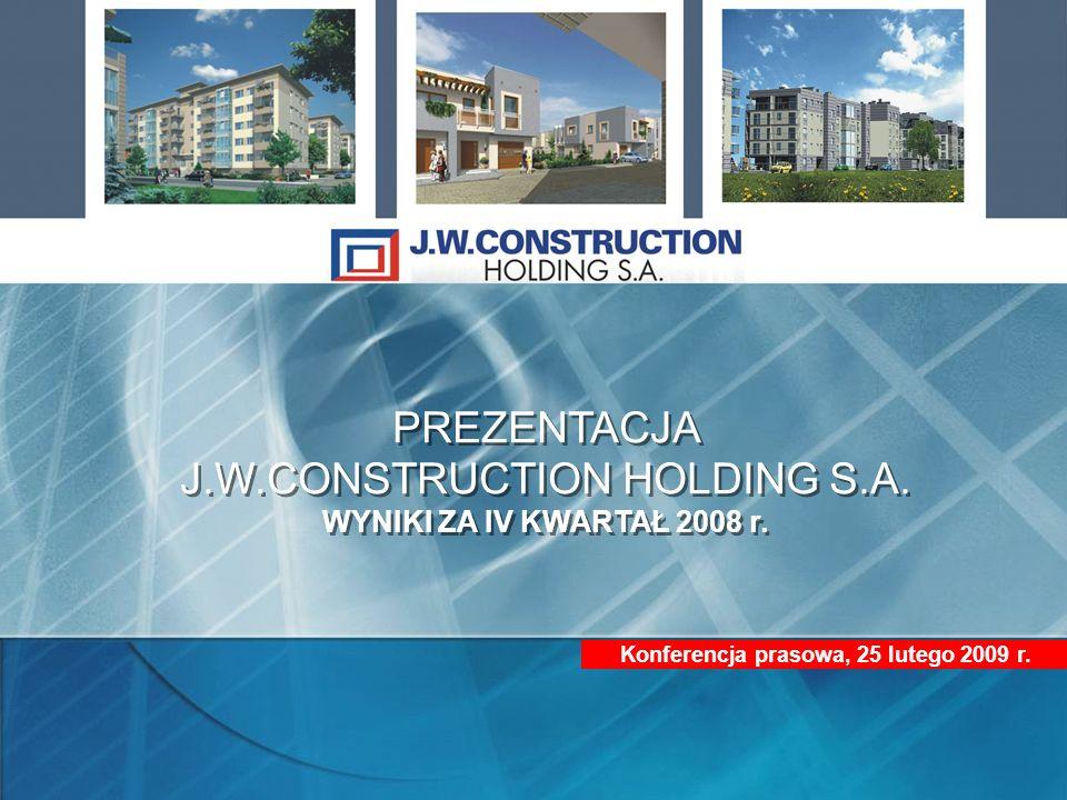 Konferencja prasowa, 25 lutego 2009 r. PREZENTACJA J.W.CONSTRUCTION HOLDING S.A. WYNIKI ZA IV KWARTAŁ 2008 r. PREZENTACJA J.W.CONSTRUCTION HOLDING S.A