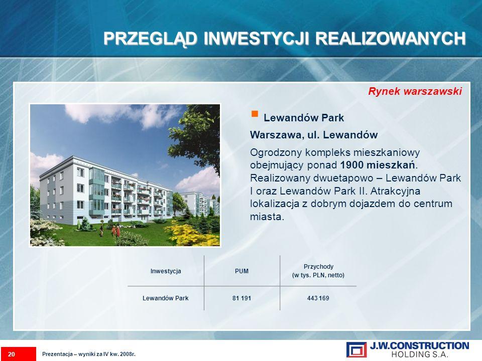 PRZEGLĄD INWESTYCJI REALIZOWANYCH Lewandów Park Warszawa, ul. Lewandów Ogrodzony kompleks mieszkaniowy obejmujący ponad 1900 mieszkań. Realizowany dwu