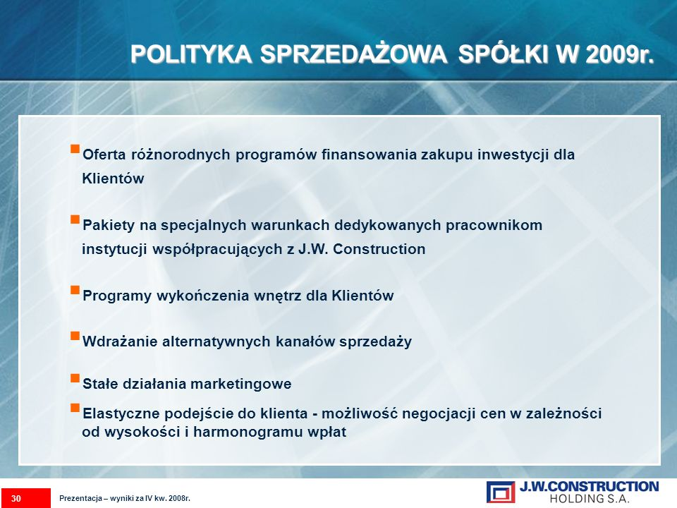 POLITYKA SPRZEDAŻOWASPÓŁKI W 2009r. POLITYKA SPRZEDAŻOWA SPÓŁKI W 2009r. Oferta różnorodnych programów finansowania zakupu inwestycji dla Klientów Pak