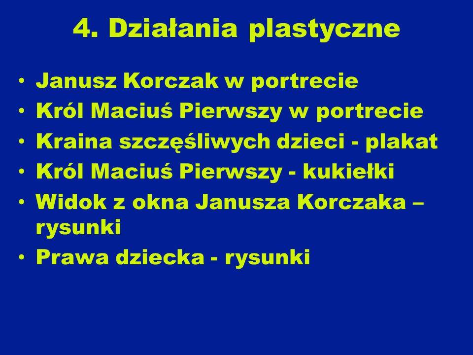 4. Działania plastyczne Janusz Korczak w portrecie Król Maciuś Pierwszy w portrecie Kraina szczęśliwych dzieci - plakat Król Maciuś Pierwszy - kukiełk