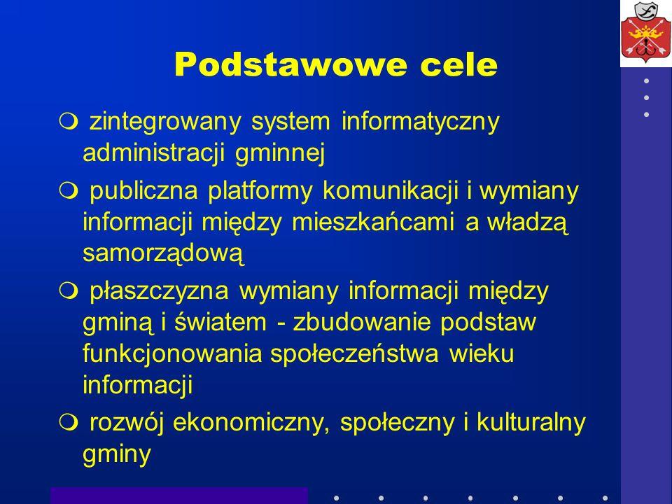Podstawowe cele zintegrowany system informatyczny administracji gminnej publiczna platformy komunikacji i wymiany informacji między mieszkańcami a wła