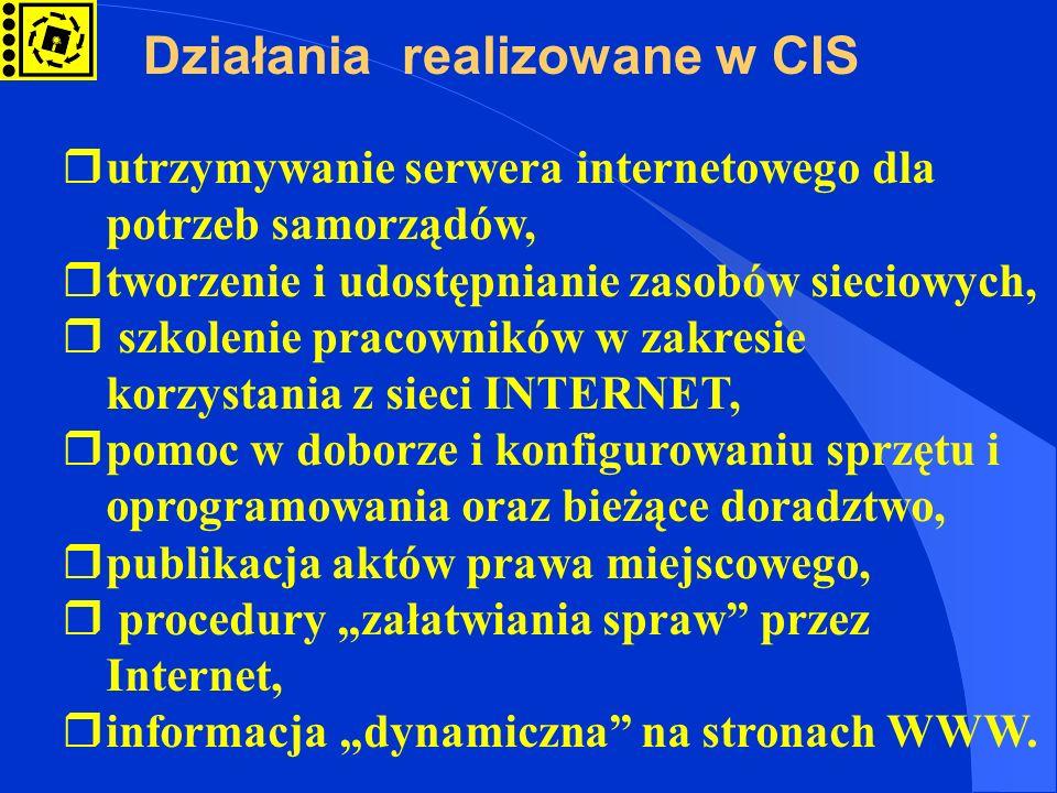 rutrzymywanie serwera internetowego dla potrzeb samorządów, rtworzenie i udostępnianie zasobów sieciowych, r szkolenie pracowników w zakresie korzysta