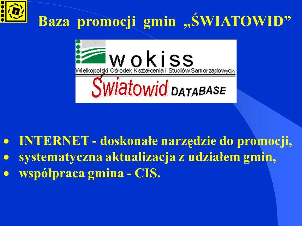 Baza promocji gmin ŚWIATOWID INTERNET - doskonałe narzędzie do promocji, systematyczna aktualizacja z udziałem gmin, współpraca gmina - CIS.