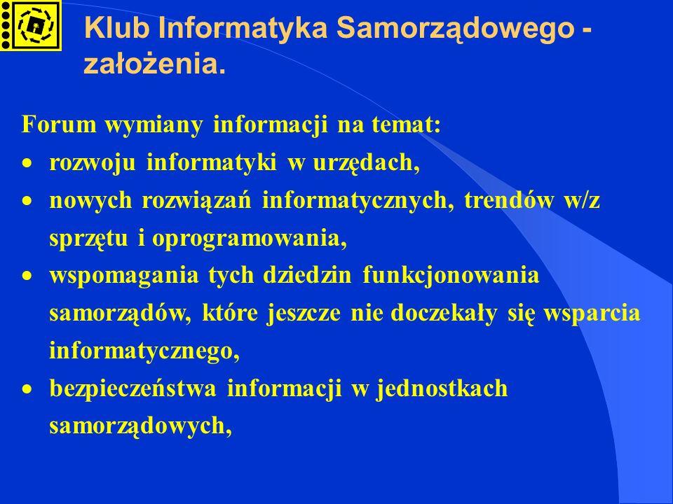 Klub Informatyka Samorządowego - założenia.