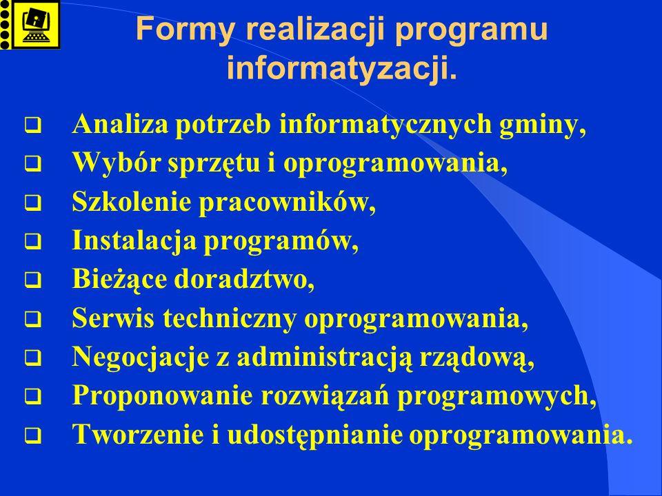 Formy realizacji programu informatyzacji. Analiza potrzeb informatycznych gminy, Wybór sprzętu i oprogramowania, Szkolenie pracowników, Instalacja pro