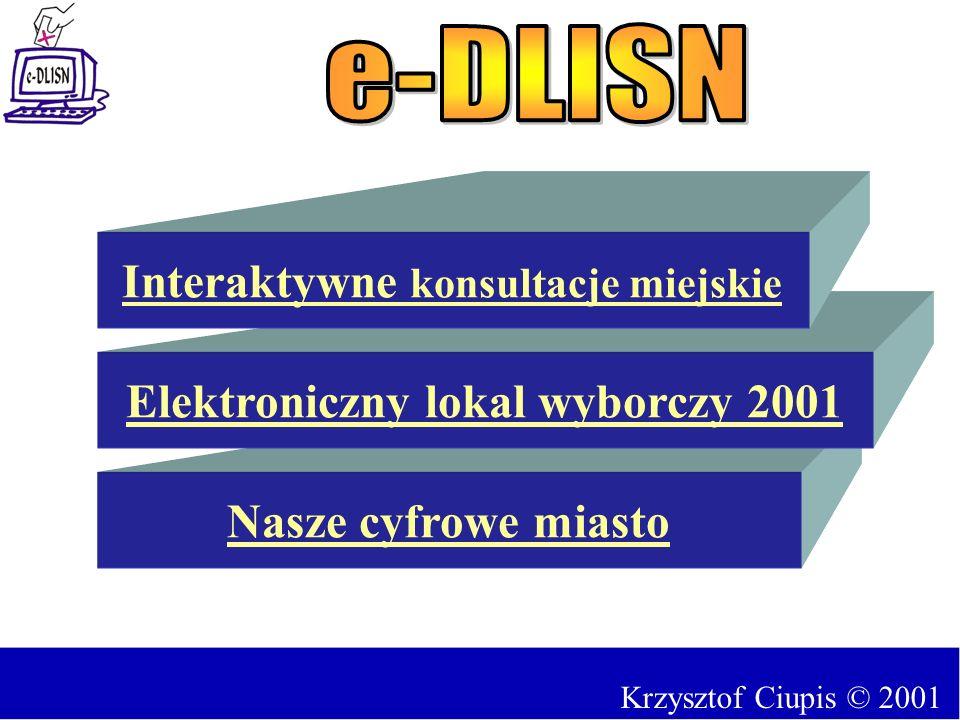 Nasze cyfrowe miasto Elektroniczny lokal wyborczy 2001 Interaktywne konsultacje miejskie Krzysztof Ciupis © 2001