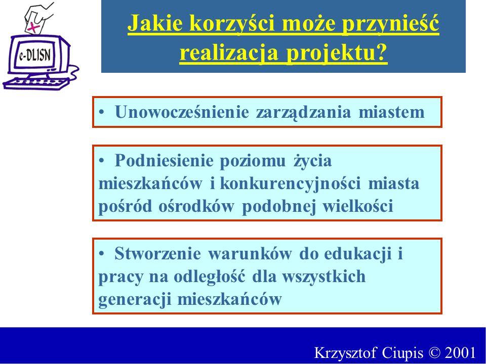 Krzysztof Ciupis © 2001 Jakie korzyści może przynieść realizacja projektu? Podniesienie poziomu życia mieszkańców i konkurencyjności miasta pośród ośr