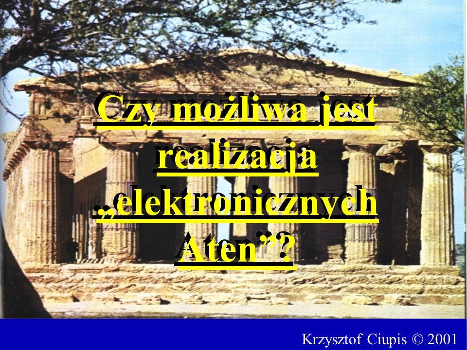 Krzysztof Ciupis © 2001 Czy możliwa jest realizacja elektronicznych Aten?