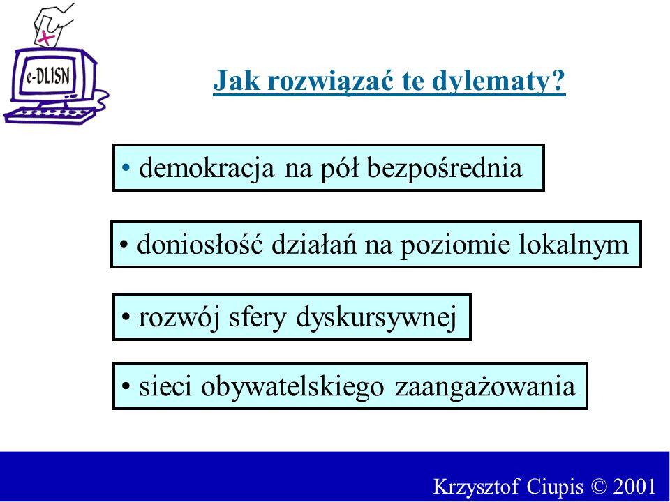 Jak rozwiązać te dylematy? demokracja na pół bezpośrednia rozwój sfery dyskursywnej doniosłość działań na poziomie lokalnym sieci obywatelskiego zaang