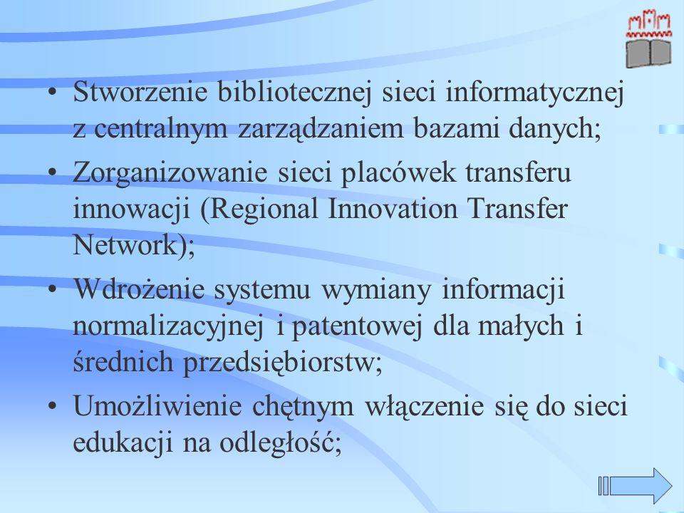 Stworzenie bibliotecznej sieci informatycznej z centralnym zarządzaniem bazami danych; Zorganizowanie sieci placówek transferu innowacji (Regional Innovation Transfer Network); Wdrożenie systemu wymiany informacji normalizacyjnej i patentowej dla małych i średnich przedsiębiorstw; Umożliwienie chętnym włączenie się do sieci edukacji na odległość;