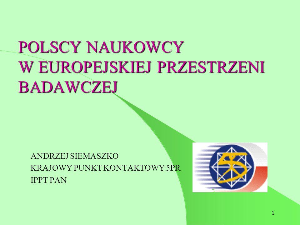 1 POLSCY NAUKOWCY W EUROPEJSKIEJ PRZESTRZENI BADAWCZEJ ANDRZEJ SIEMASZKO KRAJOWY PUNKT KONTAKTOWY 5PR IPPT PAN
