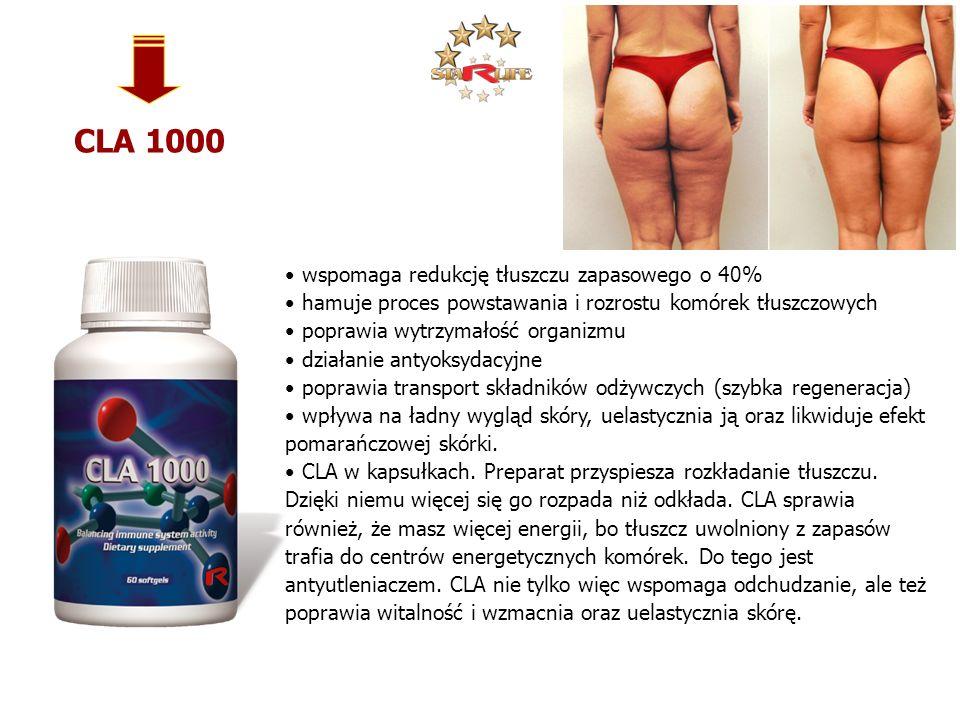 CLA 1000 wspomaga redukcję tłuszczu zapasowego o 40% hamuje proces powstawania i rozrostu komórek tłuszczowych poprawia wytrzymałość organizmu działan